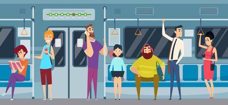 Metro passenger. People in urban subway train reading book watching smartphone listen music vector public metro crowd. Train metro passenger, transport city urban, public subway illustration