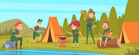 Outdoor scouts. Teacher studying little rangers survive in wild tree group of scouts in uniform sitting in camp events vector characters. Forest rest exploration, explorer sitting in camp illustration