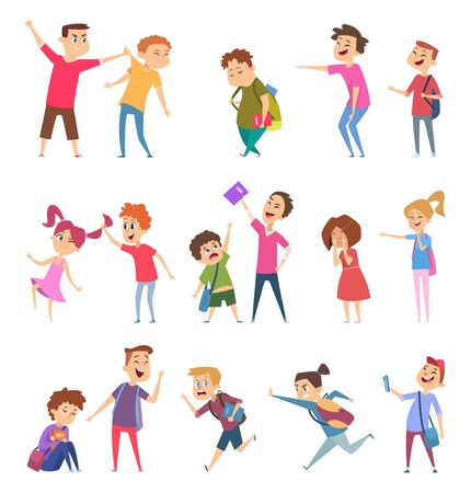 Bullied characters. School kids conflict social problems of stressed people scared emotions vector cartoon illustrations. Bullying and conflict, social bully problem