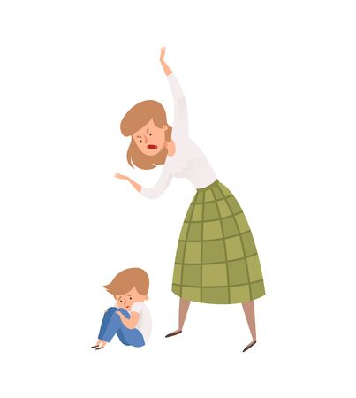 Family abusing behavior. Mother punish her son. Isolated angry woman and baby boy. Sad toddler vector illustration. Mother and boy, family angry punish
