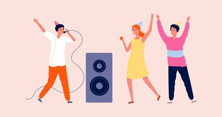 Disco party. Woman man dancing and singing. Birthday festive time, happy friends in karaoke bar. Cartoon girl and guys vector character. Illustration music dance and entertainment