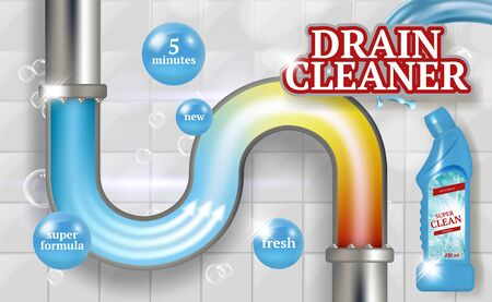 Cleaning pipes. Ads placard of bathroom piping drain plumber vector realistic promotional poster fresh tubes. Cleaner drain, pipe cleaning, plumbing canalization illustration Иллюстрация