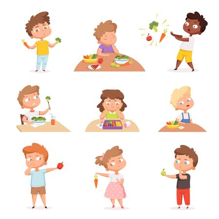 Kids and vegetables. Little hungry children eating fast food dont like fruits and healthy products vector cartoon characters. Child dislike healthy eating illustration Ilustración de vector