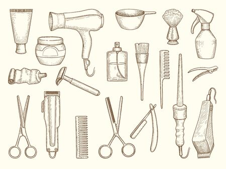 Barber shop collection. Drawing accessories for beauty haircut salon razor comb scissors drying shampoo spray towel. Vector set. Hairdresser accessories, scissors barbershop illustration