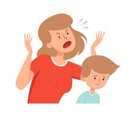 Violenza domestica. Madre arrabbiata, ragazzo triste. Bullismo e comportamento abusante. Urlo della donna sull'illustrazione di vettore del figlio. Figlio e madre in conflitto, bambino che piange ed è esausto