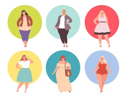 Plus size girls. Fat woman chubby in large clothing vector young people. Plump and big woman, young beauty chubby illustration Ilustración de vector