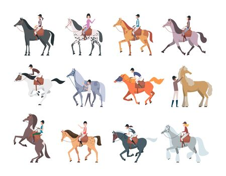Horse riders. Equestrian sport people sitting walking on strong domestic horses and pony persons breeds racing animals vector. Horseman run, equine and jockey, sport equestrian illustration