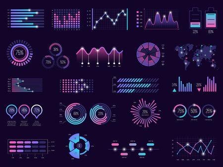 Infographie d'entreprise. Graphiques graphiques futuristes barre holographique panneaux ui modèle vectoriel thème sombre. Tableau de bord holographique d'illustration, graphique numérique futuriste, rapport d'interface