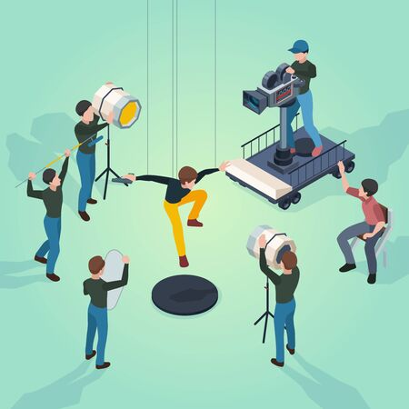 Movie set. Film makers director actors and technical staff working video production process cameras technic vector isometric. Illustration process isometric, shooting video and filmmaking