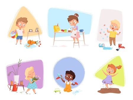 Messy kids. Happy children playing in various energy games making troubles destroy toys delinquent vector characters. Illustration childhood, playing and playful preschooler