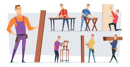 Carpentry job. Handyman character or craftsman professional working making wooden building roof vector job cartoon concept background. Craftsman worker with equipment, handyman builder illustration