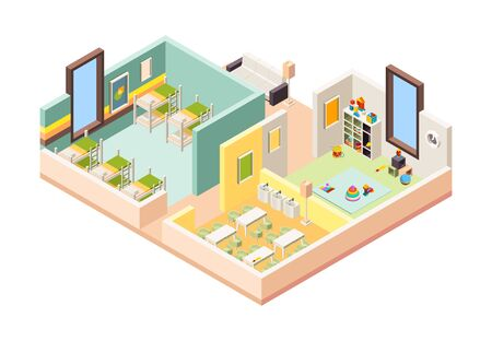 Kindergarten interior. Playground room preschool building with kitchen lessons game place and bedroom little kids vector 3d interior. Illustration kindergarten interior, playground room and dinning Vectores