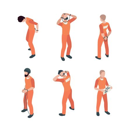 Prisoner characters. Jail guy bandit thief in specific costumes vector person in action poses. Prisoner character, criminal man in handcuff illustration