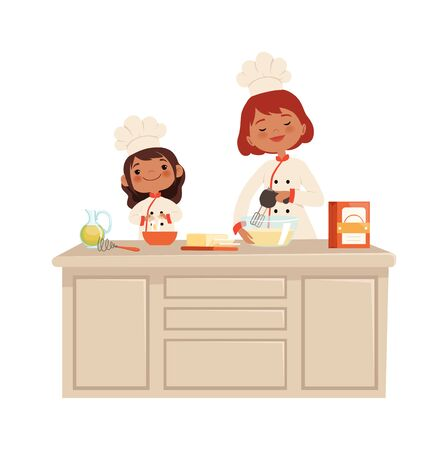 Culinary workshop. Woman and girl on kitchen. Kid in uniform professional chef makes food vector concept. Professional workshop kitchen, homemade cartoon person, delicious culinary illustration