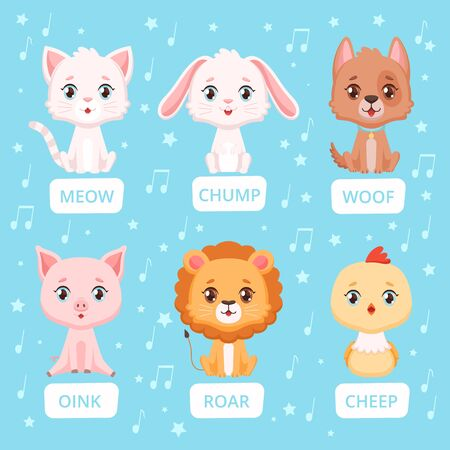Animals sounds. Zoo characters communication animals talking words vector cartoon illustrations. Rabbit and cat, lion and pig talking speech