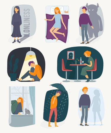 Loneliness people. Depressed rain feeling of fearfully stressed characters vector people collection. Illustration loneliness and stress, sad person, depressed unhappy emotion