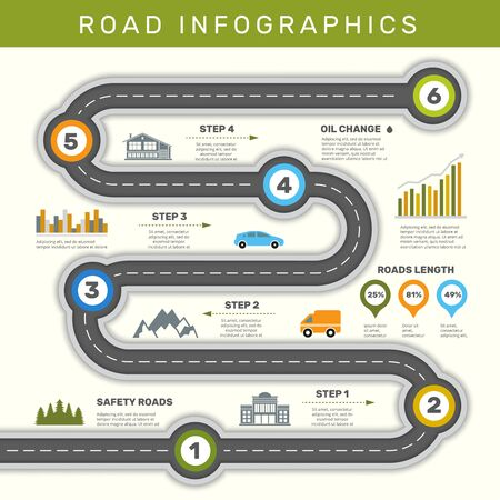 Road infographic. Timeline with point map business workflow graphic vector template. Illustration infographic presentation road step timeline Иллюстрация