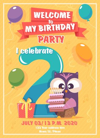 Birthday invitation. Kids poster with owls funny characters vector placard template. Poster congratulation and announcement birthday, greeting invitation illustration
