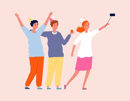 Friends selfie. Party time, smiling people with drinks. Woman and men making photo together vector illustration. Selfie people party, photo together celebration