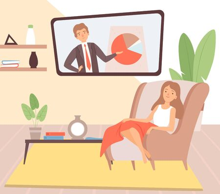 Stay at home. Housewife resting, cartoon woman in chair with blanket watch TV vector illustration. Character at home relax, stay at home quarantine