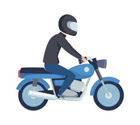 Man biker. Male on sport motorcycle. Flat boy in helmet drive scooter vector illustration. Motorcycle biker, man transportation ride speed bike