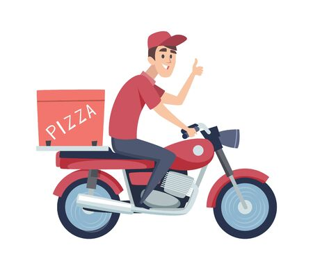Delivery boy on motorcycle. Man ride on scooter. Isolated flat man delivers pizza vector illustration. Delivery pizza by motorbike, man motorcycle deliver