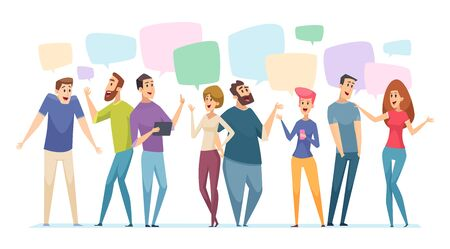 People conversation. Speech bubble on communication persons dialogue visualization vector talk concept. Speech bubble conversation, dialog and speak communication illustration