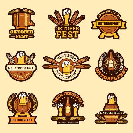 Oktoberfest badges. Alcoholic drinks craft beer inviting to celebration german traditional festive vector beer emblem. Illustration beer alcohol label collection, badge and sign