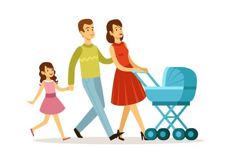 Family walking. Mother father daughter, baby in carriage. Young parents and children vector illustration. Mother and father with daughter and baby walking
