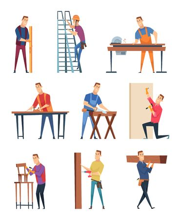 Carpenter character. Professional wood workman carpenter with equipment handyman job vector craftsman. Workman doing construction from wood, carpenter person professional illustration
