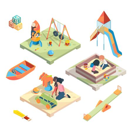 Playground isometric. Place for funny games kids preschool playing with babysitter in amusement park toys vector pictures. Preschool game, play with child on playground illustration Illustration