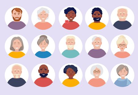 Elderly people avatars. Old person faces for web cv or id doc vector characters portraits collection. Elderly person character, people woman and man illustration Vettoriali