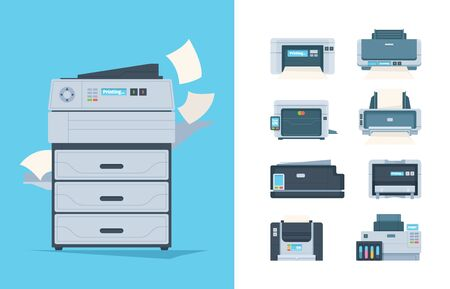 Copy machines. Different printers pc terminal of copying technics components fax printing house gadgets vector flat pictures. Photocopier and publishing photocopy, colorful ink-jet illustration