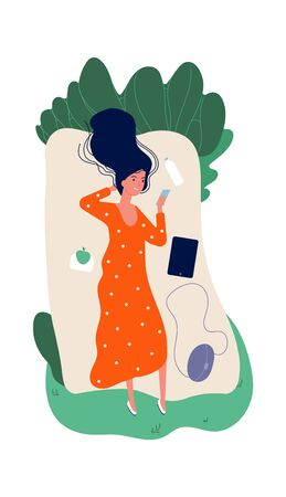 Girl on nature. Meditation, time for yourself. Happy single woman with smartphone and water. Female relaxing vector illustration. Woman relaxing on park lying on grass Çizim