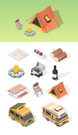 Barbecue isometric. Picnic table bbq steak camper van product party on nature fire and tent vector pictures set. Illustration isometric barbecue and picnic elements Çizim