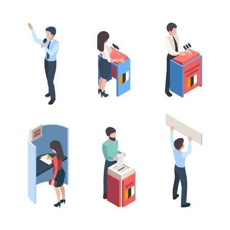 Vote isometric. Political people speakers reporter voting campaign politic choice vector character. Isometric voting character, public campaign, candidate politician speech illustration