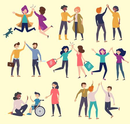 High five friends. Greeting happy colleague communication hands gestures friendly characters meeting people vector. High five greeting, characters meeting illustration