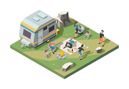 Outdoor picnic party. Camper fire place tent camp barbecue party table for food street grill pork and sausage vector isometric scene. Barbecue picnic cooking, cookout bbq illustration Çizim