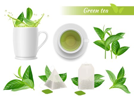Hot tea realistic. Green leaves cups water splashes aromatic green tea tags vector advertizing set. Hot green tea, cup drink beverage illustration Illusztráció