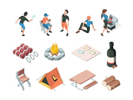 Bbq party. People relax picnic outdoor barbecue fresh products eating persons family playing vector isometric. Woman and man, bottle wine and barbeque meal steak illustration Illustration