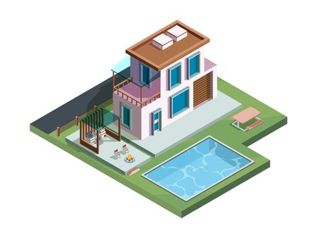 Outdoor patio. Wooden exterior terrace in garden with relax place luxury picnic barbecue cooking vector isometric kitchen. Wooden building on backyard with swimming pool illustration