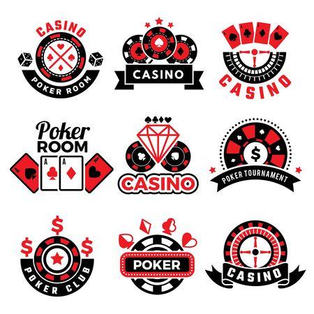 Casino badges. Gambling poker game chips dice images cards vector emblems set. Poker casino and gambling emblem illustration