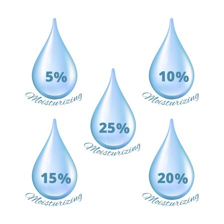 Realistic water drops. Moisturizing effect percentages cosmetics droplets. Isolated liquids vector set. Moisturizer percent in drop illustration