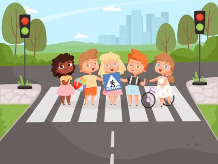 Crossroad rulles. Children learning safety road traffic lights on street and signboards vector background. Safety child boy and girl, cartoon crossing road illustration