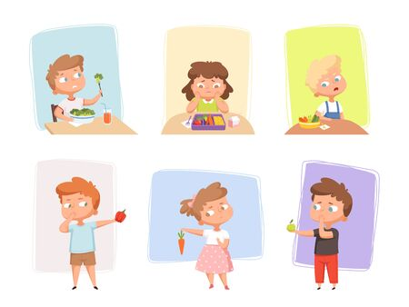 Vegetables for children. Unhappy kids dont like healthy fruits and vegetables emotional eating junk food sweets delicious meal hungry persons vector set. Kid dislike eating healthy food illustration