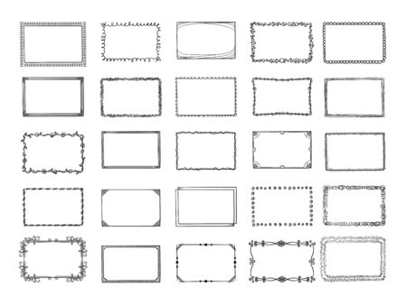 Doodle frames. Sketched hand drawn square shapes in different styles borders and photo frames vector set. Frame square scribble, sketch drawing photo gallery illustration