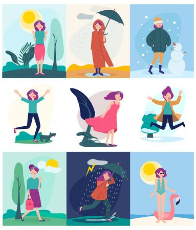 Seasonal woman. Different weather outdoor character walking in different season conditions rainy windy snow storm or hot sun vector people. Woman summer and snow, spring and autumn illustration Vectores