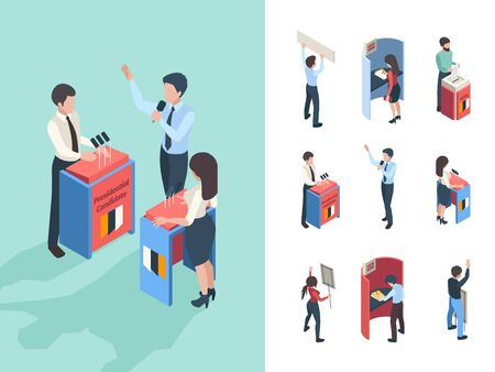 Political voting. People choice president or parliament reporters and speakers vote campaign vector isometric persons. Illustration candidate discussion, conversation presidential election