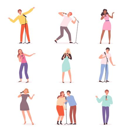 Karaoke singers. People have fun in music club solo concert persons vector male and female characters. Karaoke microphone, voice song illustration 向量圖像