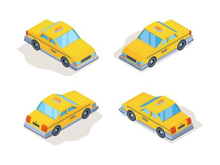 Taxi cars. Yellow service vehicles passenger machines isometric various point view vector. Car taxi service, cab yellow to travel transportation city illustration Vetores